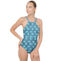 Zen Lotus Wood Wall Blue High Neck One Piece Swimsuit