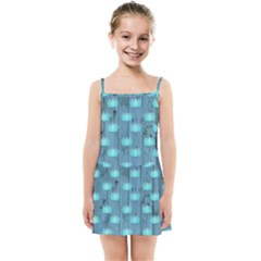Zen Lotus Wood Wall Blue Kids Summer Sun Dress