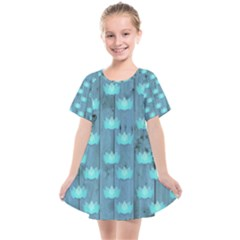 Zen Lotus Wood Wall Blue Kids  Smock Dress