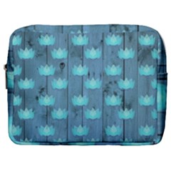 Zen Lotus Wood Wall Blue Make Up Pouch (large)