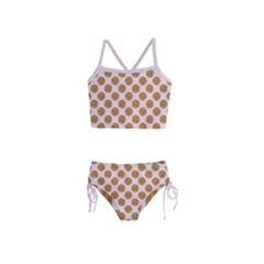 Waffle Polka Dot Pattern Girls  Tankini Swimsuit by emilyzragz