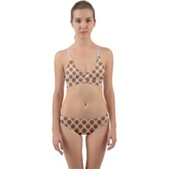 Waffle Polka Dot Pattern Wrap Around Bikini Set by emilyzragz