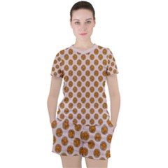 Waffle Polka Dot Pattern Women s Tee And Shorts Set