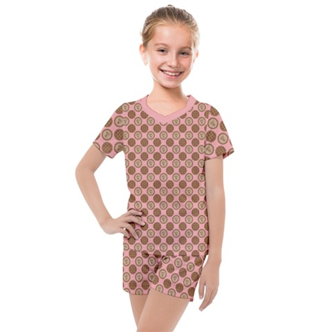 Qt Pie Polka Dot Pattern Kids  Mesh Tee And Shorts Set by emilyzragz