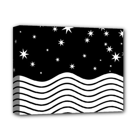 Black And White Waves And Stars Abstract Backdrop Clipart Deluxe Canvas 14  X 11  (stretched) by Jojostore