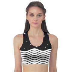 Black And White Waves And Stars Abstract Backdrop Clipart Sports Bra