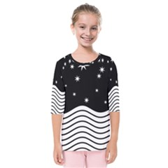 Black And White Waves And Stars Abstract Backdrop Clipart Kids  Quarter Sleeve Raglan Tee