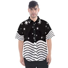 Black And White Waves And Stars Abstract Backdrop Clipart Men s Short Sleeve Shirt