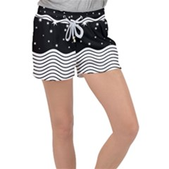 Black And White Waves And Stars Abstract Backdrop Clipart Women s Velour Lounge Shorts