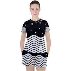 Black And White Waves And Stars Abstract Backdrop Clipart Women s Tee And Shorts Set by Jojostore