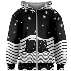 Black And White Waves And Stars Abstract Backdrop Clipart Kids Zipper Hoodie Without Drawstring