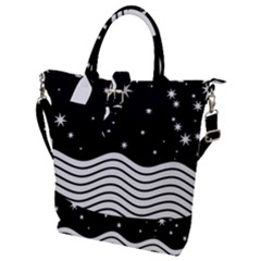 Black And White Waves And Stars Abstract Backdrop Clipart Buckle Top Tote Bag