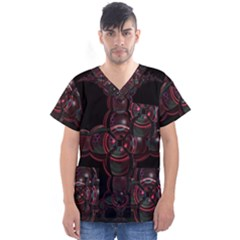 Fractal Red Cross On Black Background Men s V Neck Scrub Top