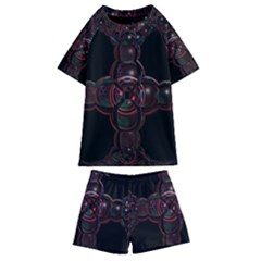 Fractal Red Cross On Black Background Kids  Swim Tee And Shorts Set