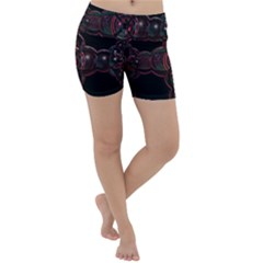 Fractal Red Cross On Black Background Lightweight Velour Yoga Shorts