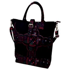 Fractal Red Cross On Black Background Buckle Top Tote Bag