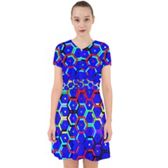 Blue Bee Hive Pattern Adorable In Chiffon Dress