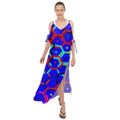 Blue Bee Hive Pattern Maxi Chiffon Cover Up Dress