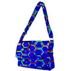 Blue Bee Hive Pattern Full Print Messenger Bag by Jojostore