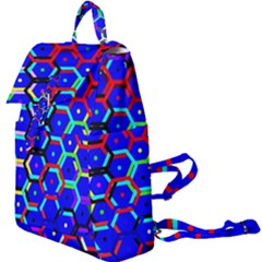 Blue Bee Hive Pattern Buckle Everyday Backpack