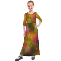 Star Background Texture Pattern Kids  Quarter Sleeve Maxi Dress by Jojostore