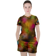 Star Background Texture Pattern Women s Tee And Shorts Set