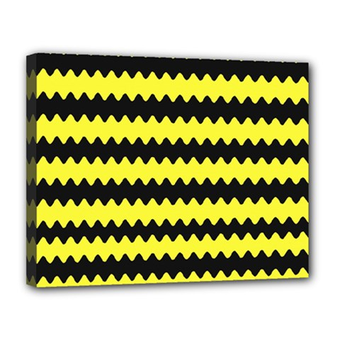 Yellow Black Chevron Wave Canvas 14  X 11  (stretched) by Jojostore