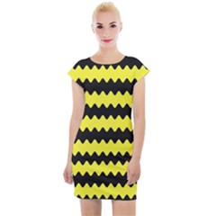 Yellow Black Chevron Wave Cap Sleeve Bodycon Dress
