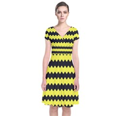 Yellow Black Chevron Wave Short Sleeve Front Wrap Dress