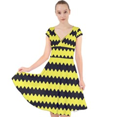 Yellow Black Chevron Wave Cap Sleeve Front Wrap Midi Dress