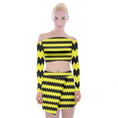 Yellow Black Chevron Wave Off Shoulder Top With Mini Skirt Set