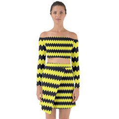 Yellow Black Chevron Wave Off Shoulder Top With Skirt Set