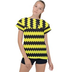 Yellow Black Chevron Wave Ruffle Collar Chiffon Blouse by Jojostore