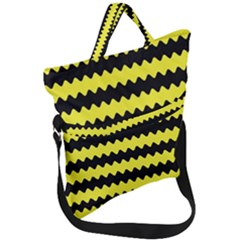 Yellow Black Chevron Wave Fold Over Handle Tote Bag by Jojostore