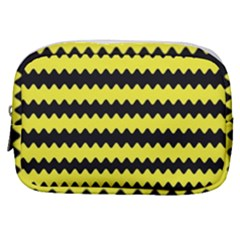 Yellow Black Chevron Wave Make Up Pouch (small)