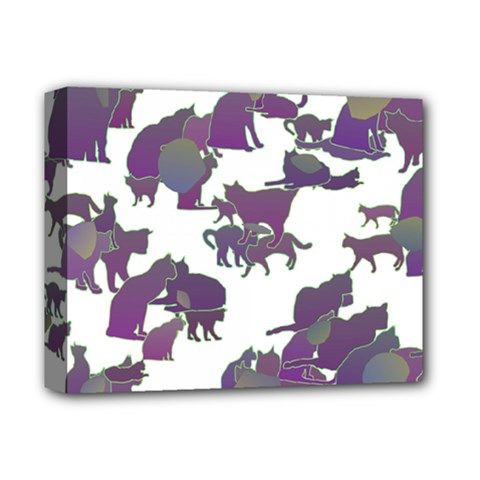 Many Cats Silhouettes Texture Deluxe Canvas 14  X 11  (stretched) by Jojostore