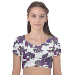 Many Cats Silhouettes Texture Velvet Short Sleeve Crop Top