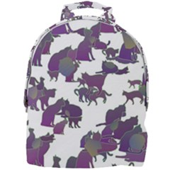 Many Cats Silhouettes Texture Mini Full Print Backpack by Jojostore