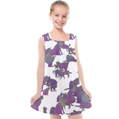Many Cats Silhouettes Texture Kids  Cross Back Dress by Jojostore