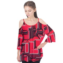Background With Red Texture Blocks Flutter Tees by Jojostore