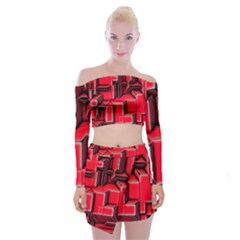Background With Red Texture Blocks Off Shoulder Top With Mini Skirt Set