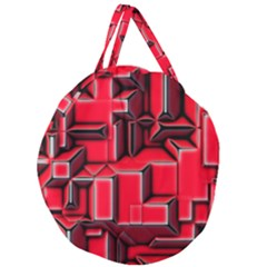 Background With Red Texture Blocks Giant Round Zipper Tote by Jojostore