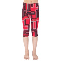 Background With Red Texture Blocks Kids  Capri Leggings