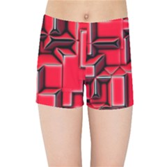 Background With Red Texture Blocks Kids Sports Shorts by Jojostore