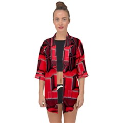 Background With Red Texture Blocks Open Front Chiffon Kimono
