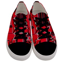 Background With Red Texture Blocks Men s Low Top Canvas Sneakers