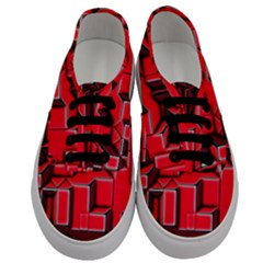 Background With Red Texture Blocks Men s Classic Low Top Sneakers