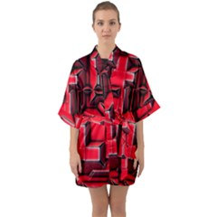 Background With Red Texture Blocks Quarter Sleeve Kimono Robe by Jojostore