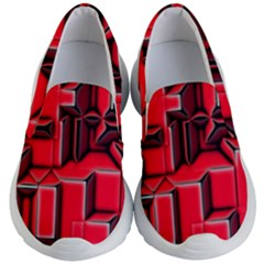 Background With Red Texture Blocks Kid s Lightweight Slip Ons by Jojostore