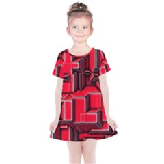 Background With Red Texture Blocks Kids  Simple Cotton Dress